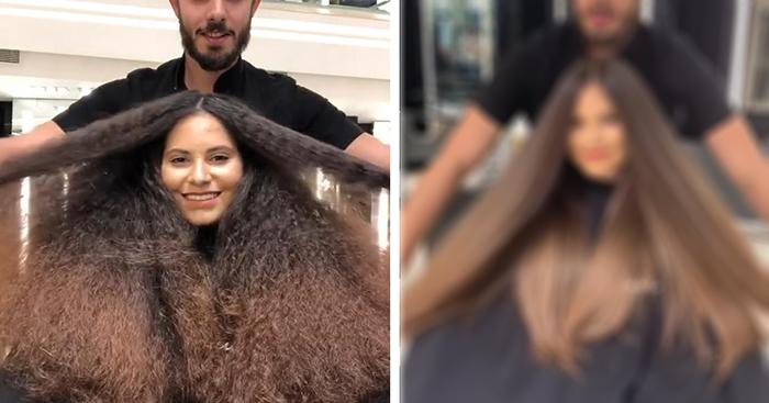 Փարթամ և չենթարկվող մազերով մի աղջիկ դուրս եկավ սրահից ինչպես թանկ և խնամված գեղեցկուհի